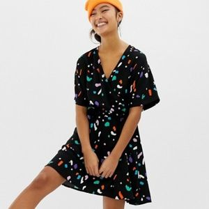 Asos Collusion 90's Deco Printed Ruched Wrap Dress